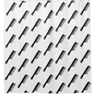 Black combs shower curtain