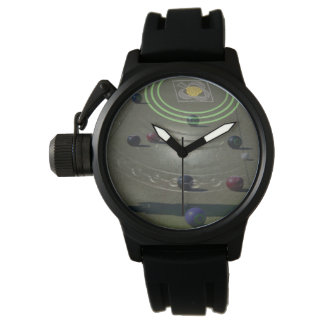 Black Competition Lawn Bowl, Mens Rubber Watch. Watch