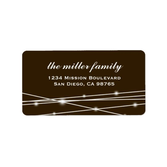 Black contemporary holiday glow address label