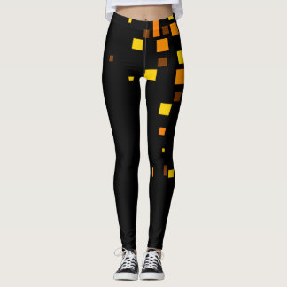 Black Cool Yellow Squares Modern Contrast Trendy Leggings