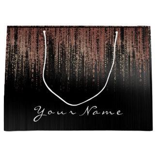 Black Copper Rose Gold Name Glam Matrix Rain Brand Large Gift Bag