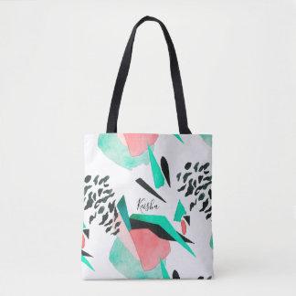 Black Coral and Aqua Abstract Print with Name Tote Bag