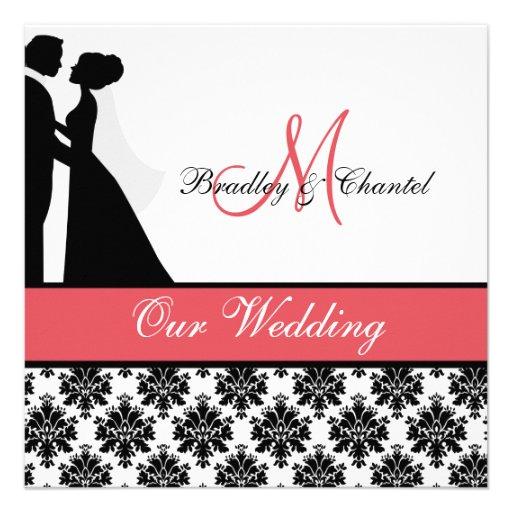 Black, Coral, and White Couple Wedding Invitation