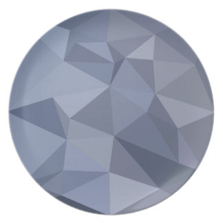 Black Coral Blue Abstract Low Polygon Background Dinner Plate