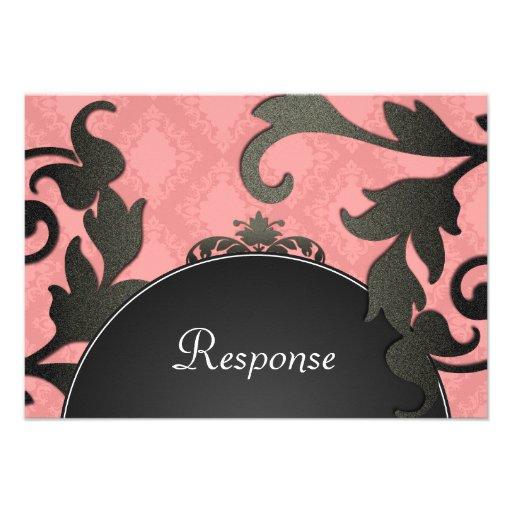 Black & Coral Floral Damask Wedding Response RSVP Personalised Invite