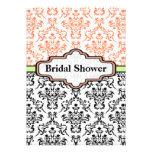 Black coral lime damask wedding bridal shower personalised invites