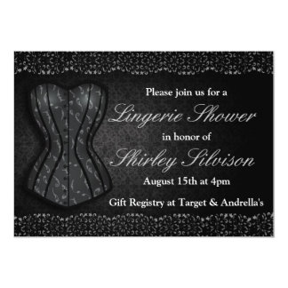 Black Corset Lingerie Bridal Shower Invitation