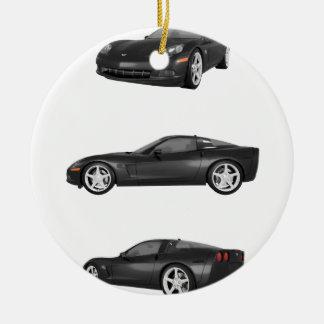 Black Corvette Ceramic Ornament
