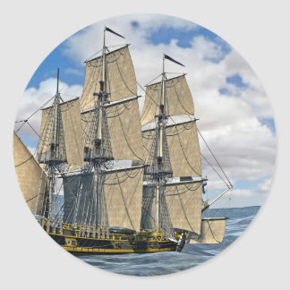 Black Corvette Ship Sailing on a windy day Classic Round Sticker