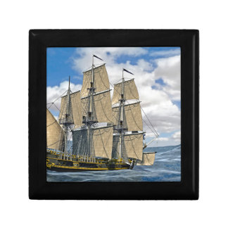 Black Corvette Ship Sailing on a windy day Gift Box