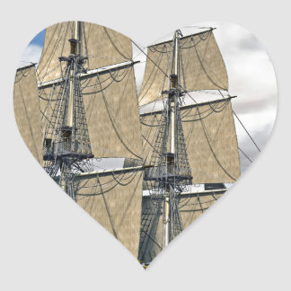 Black Corvette Ship Sailing on a windy day Heart Sticker