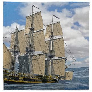 Black Corvette Ship Sailing on a windy day Napkin