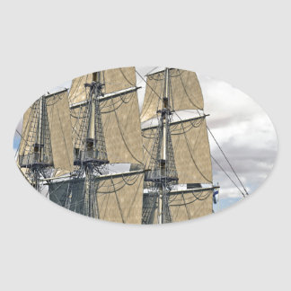 Black Corvette Ship Sailing on a windy day Oval Sticker