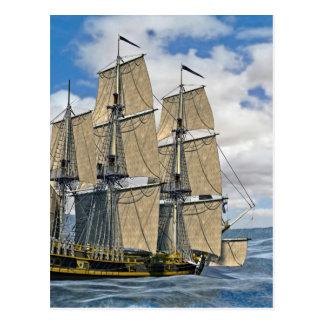 Black Corvette Ship Sailing on a windy day Postcard
