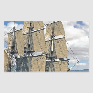 Black Corvette Ship Sailing on a windy day Rectangular Sticker