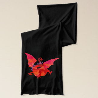 Black Cotton Jersey Scarf: Welsh Red Dragon Scarf