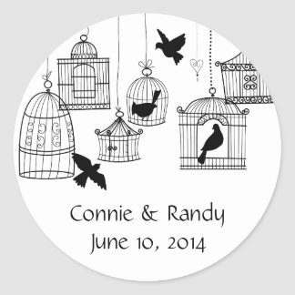 Black Country Bird Cages Round Sticker