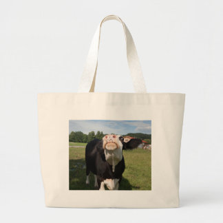 black cow attacking you canvas bags