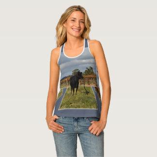Black Cow Dimensional Art Ladies Racerback Tanktop Tank Top