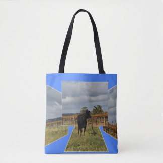 Black Cow Dimensional Art  Tote Shopping Bag