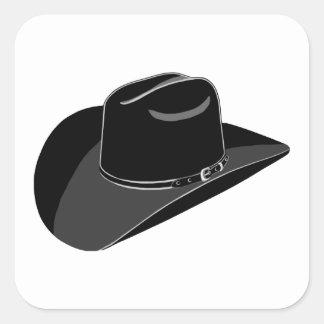 Black cowboy hat square sticker