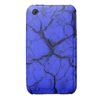 Black Cracks on Blue  iPhone 3 Case