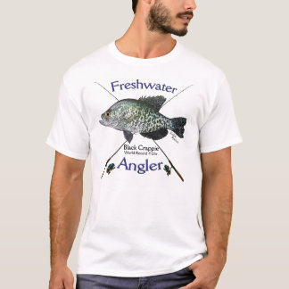 Black Crappie Freshwater angler fishing Tshirt
