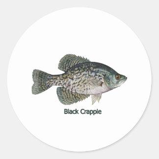 Black Crappie (titled) Classic Round Sticker