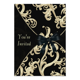 Black Cream Cocktail Party 13 Cm X 18 Cm Invitation Card