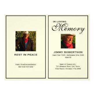Black & Cream Funeral Order of Service Program Flyer