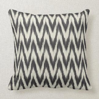 Black & Cream Ikat Waves Cushion