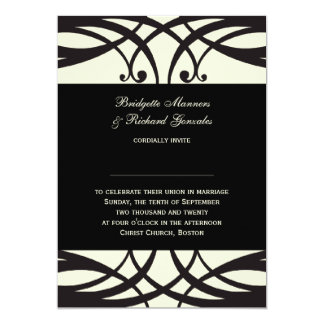 Black Cream Wedding Invitations Art Deco