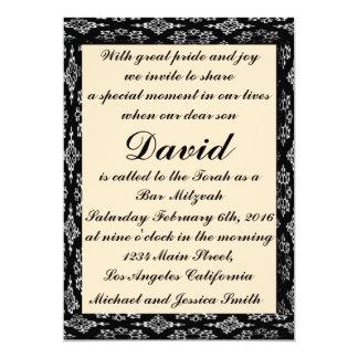 Black/Creme Bar Mitzvah/Birthday Invitation