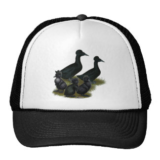 Black Crested Duck Family Cap