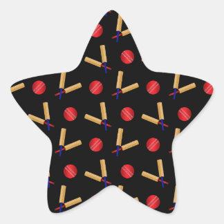 Black cricket pattern star sticker