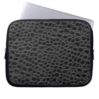 Black Crocodile Hide Laptop Sleeve