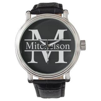 Black Cross Bar LR Monogram Watch
