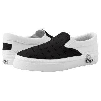 Black Cross Design slipons Slip On Shoes
