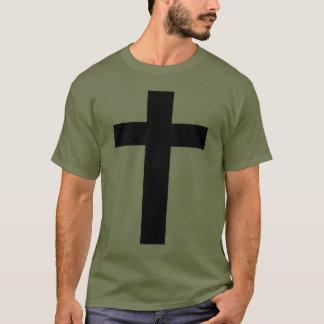 Black Cross. Olive Drab T-Shirt