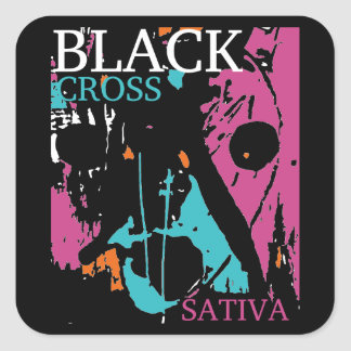 Black Cross SATIVA Square Sticker