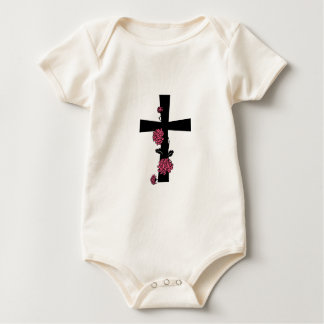 Black Cross with Pink Roses Baby Bodysuit
