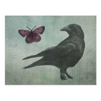 Black Crow and Butterfly postcard