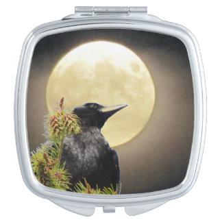 Black Crow and Full Moon Vanity Mirror
