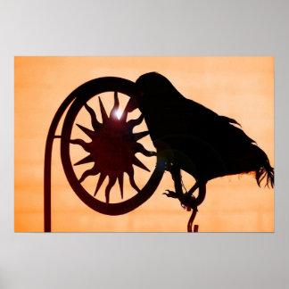 Black Crow at sunset poster photography art print