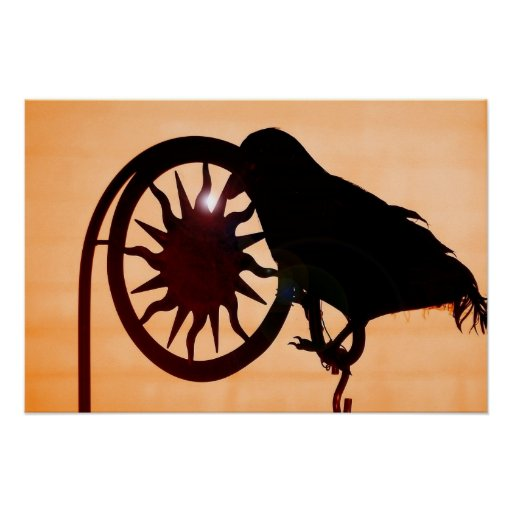 Black Crow at sunset poster photography art print