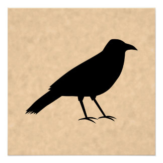 Black Crow Bird on a Parchment Pattern.