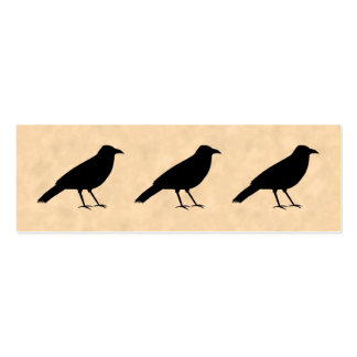 Black Crow Bird on a Parchment Pattern. Double-Sided Mini Business Cards (Pack Of 20)