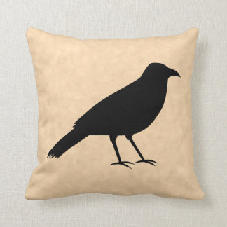 Black Crow Bird on a Parchment Pattern. Cushion