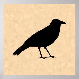 Black Crow Bird on a Parchment Pattern. Print