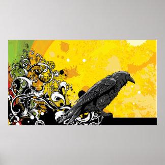 Black Crow Bird yeallow beautiful colorful Poster